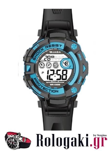 JAGA Sport Digital Black Rubber Strap M1002-Blue  f34463db4ad